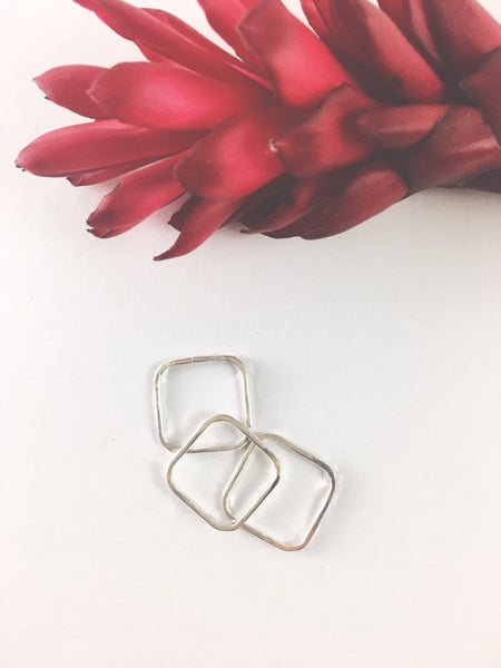Square stacking rings, made in Hawaii, sterling silver