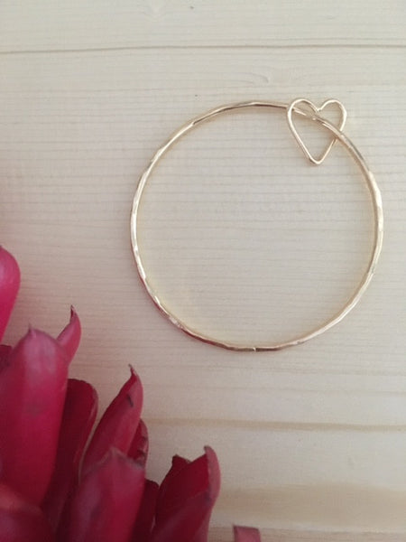 Aloha Heart Bangle, in 14K Gold Fill, Live Aloha