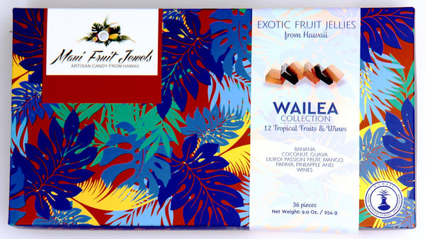 Maui fruit jelly candy, 12 tropical fruit and wine, banana, coconut, guava, passion fruit, mango, papaya, pineapple, and local wine