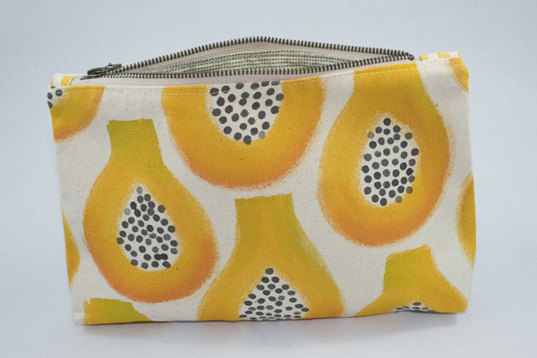 truly unique hand painted papaya clutch, made on Maui