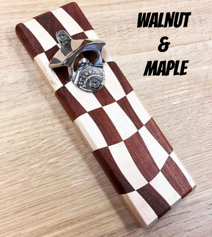 Premium Magnetic Bottle Opener - Checkerboard - Big T Woodworks
