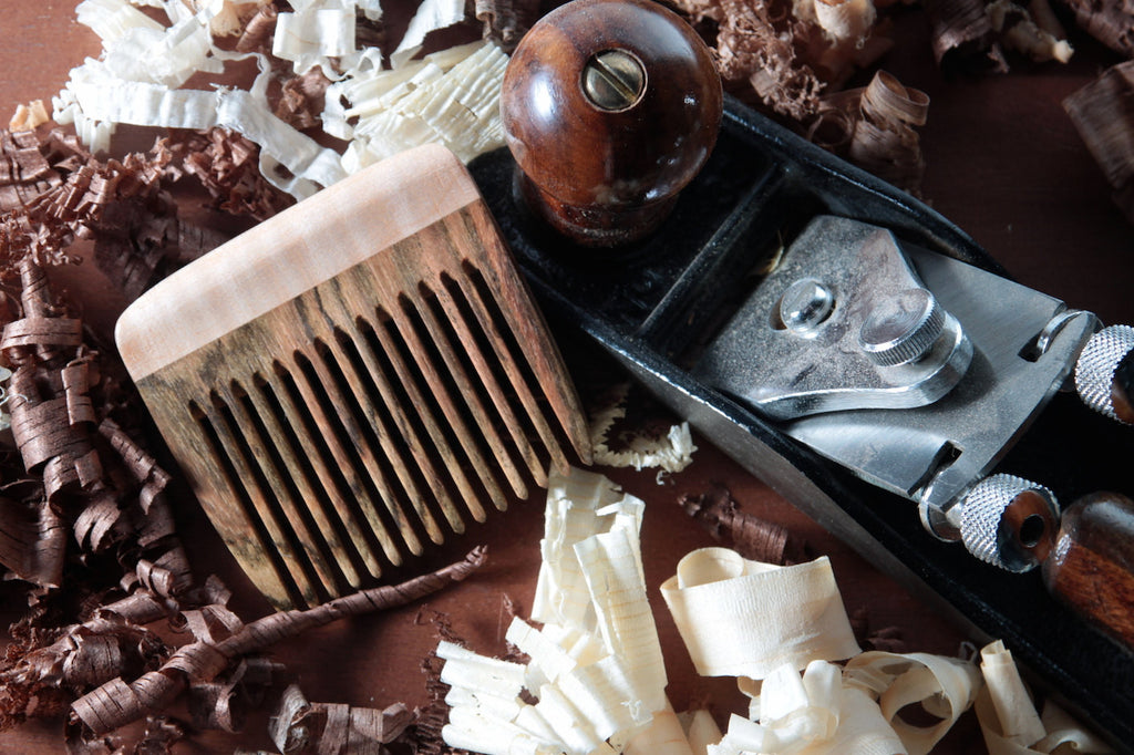 Beard Comb Wood Bocote Curly Maple Handmade Fine Tooth - Big T Woodworks