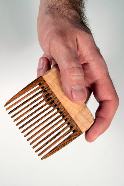 Beard Comb Wide Tooth - Bocote Curly Maple - Big T Woodworks