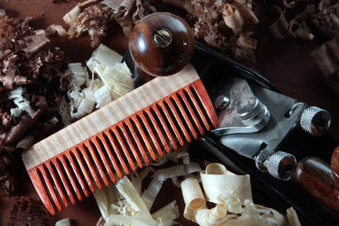 Hair Comb Wood - Paduak Curly Maple Fine Tooth Handmade - Big T Woodworks