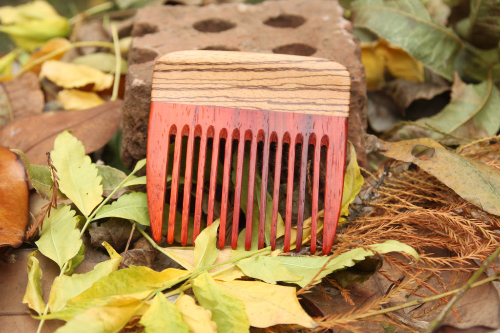 Custom Beard Comb - Paduak and Zebrawood - Wood Comb - Big T Woodworks
