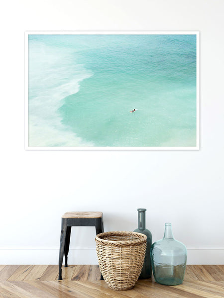 Magoito No 13 - Surfer and seafoam green water aerial view fine art prints by Cattie Coyle Photography sm