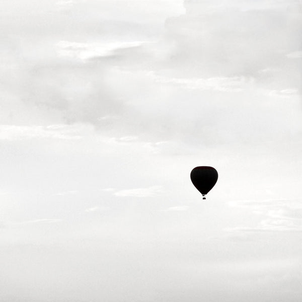 The Journey No 1 - Large black and white hot air balloon art print by Cattie Coyle Photography
