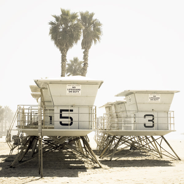 Lifeguard Towers - Southern California Art Print - Beachy Wall Decor - Summer Photography - Cattie Coyle Photography - Pastel Wall Art - Square Art Print