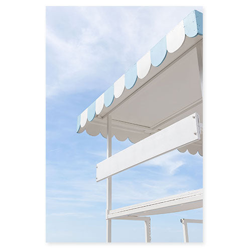 Lifeguard Tower - Blue and white art print by Cattie Coyle Photography