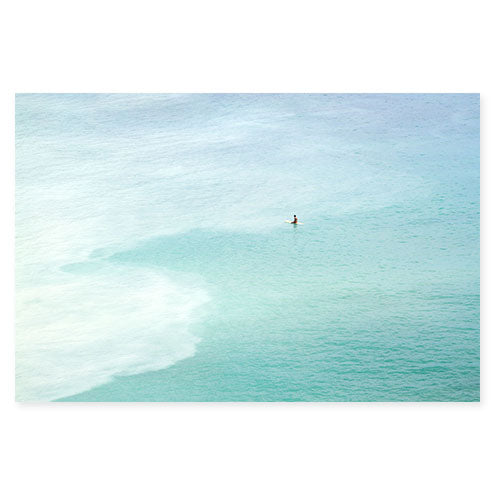 Magoito No 14 - Surfer and turquoise blue water aerial view fine art prints by Cattie Coyle Photography