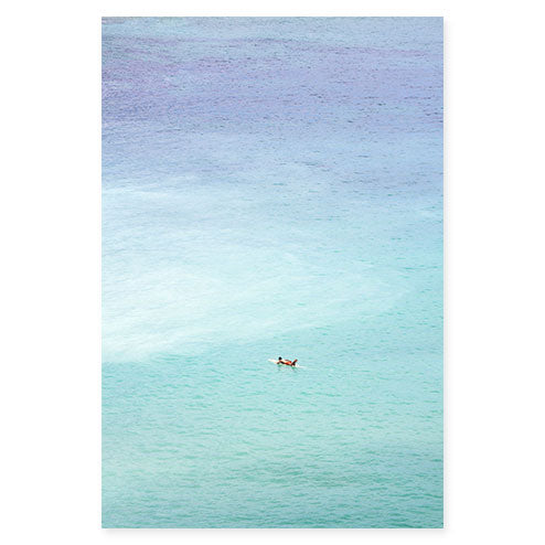 Magoito No 15 - Surfer and turquoise blue water aerial view fine art prints by Cattie Coyle Photography
