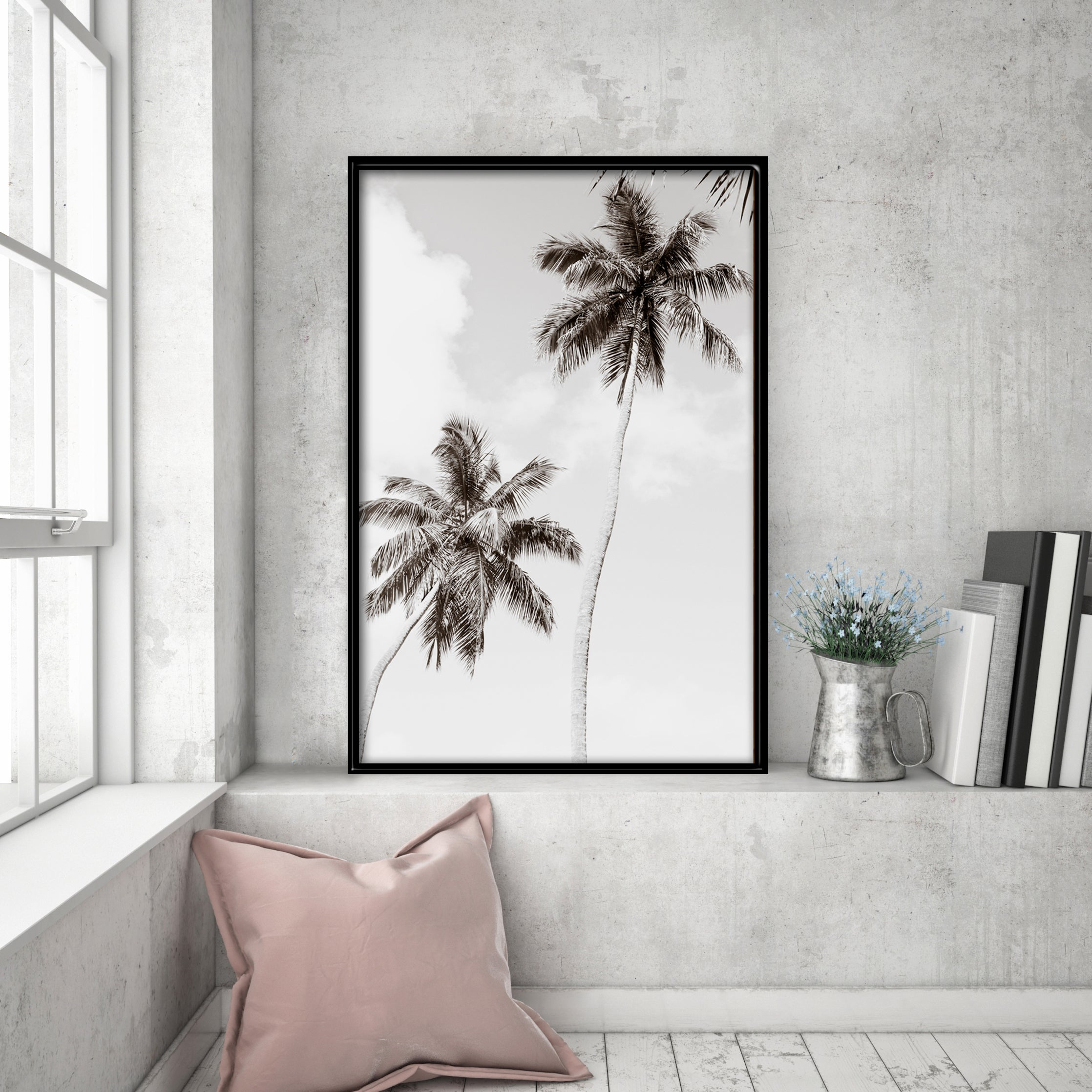 Black And White Art Print By Cattie Coyle Photography Palm Trees No