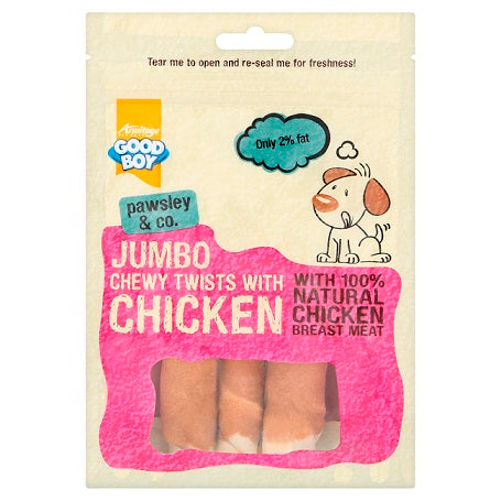 Armitage Good Boy Jumbo Chicken Chewy Twists Dog Treat - 100G - The Happy Dolphin Pets