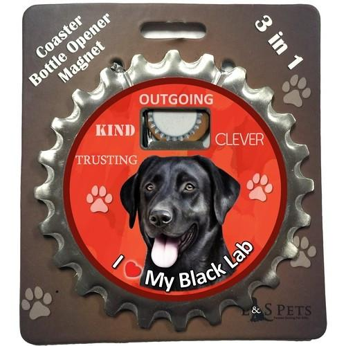 Black Lab 3 in 1 Coaster, Bottle, Opener - The Happy Dolphin Pets