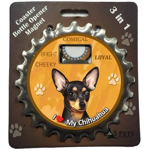 Chihuahua Black 3 in 1 Coaster, Bottle, Opener - The Happy Dolphin Pets