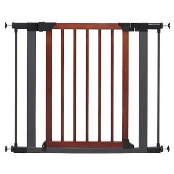 "Midwest 39"" Tall Steel Pet Gate With Decorative Wood Door - The Happy Dolphin Pets"