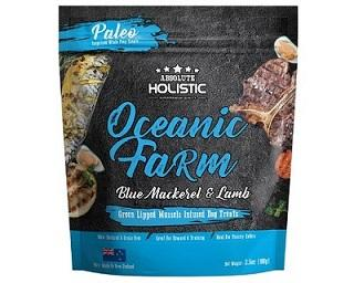 ABSOLUTE HOLISTIC AIR DRIED DOG TREATS - OCEANIC FARM BLUE MACKEREL & LAMB 100GM - The Happy Dolphin Pets