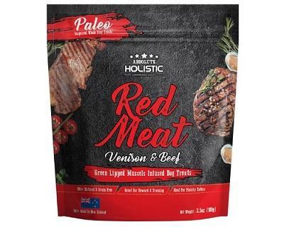 ABSOLUTE HOLISTIC AIR DRIED DOG TREATS - RED MEAT BEEF & VENISON 100GM - The Happy Dolphin Pets