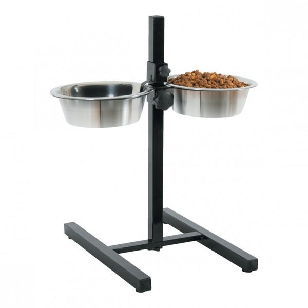 Zolux Adjustable Stand and Stainless Steel Bowls 1.5L - The Happy Dolphin Pets