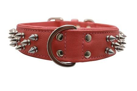 Genuine Leather Amsterdam BubbleGium Pink Multi-Line Spiked Collar - The Happy Dolphin Pets