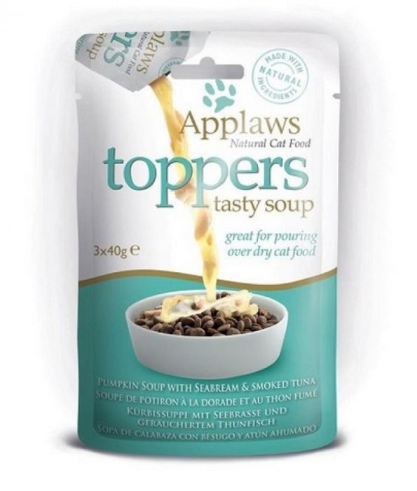 Applaws Cat Topper Tuna Pumpkin Soup (3 soups inside pack) - Feed as treat or mix with dry food - The Happy Dolphin Pets