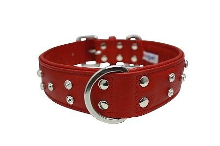 Genuine Leather Athens Red Multi-Row Rhinestones Collar - The Happy Dolphin Pets