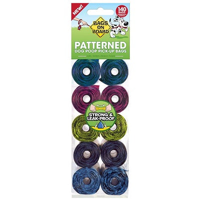 Bags on Board Dog Poop Bags Patterned Roll 14 Bags x 10 rolls - The Happy Dolphin Pets