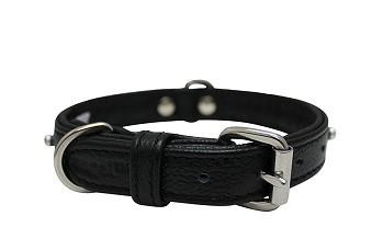 Genuine Leather Athens Black Single Row Rhinestones Collar - The Happy Dolphin Pets