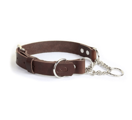 Handmade in USA - BROWN Leather Martingale Chain Collar Adjustable & Available in 3 sizes - The Happy Dolphin Pets