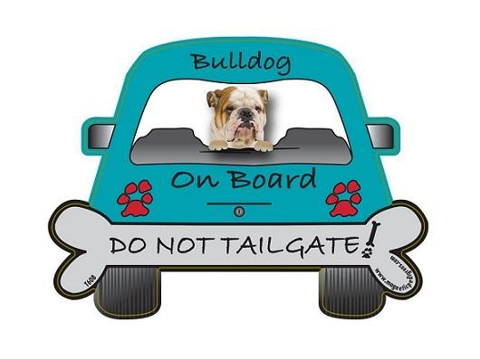 Bulldog Tailgate Custom Shaped Magnet - The Happy Dolphin Pets