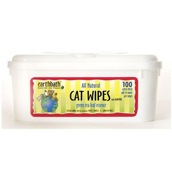 Cat Grooming Wipes With Awapuhi, Green Tea Scent 100pcs - The Happy Dolphin Pets