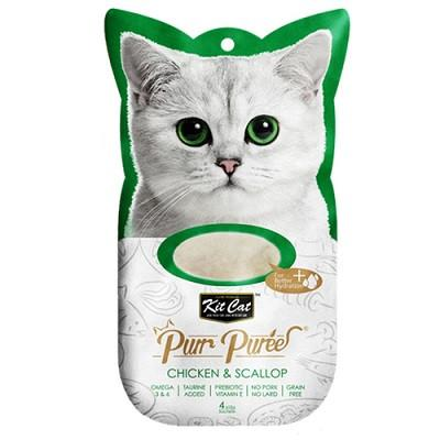 Kit Cat Purr Puree Chicken & Scallop Cat Treat - 4 sachets in bag - The Happy Dolphin Pets