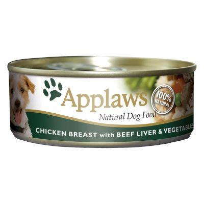 Applaws Dog Chicken Breast With Beef Liver 156g Tin - The Happy Dolphin Pets