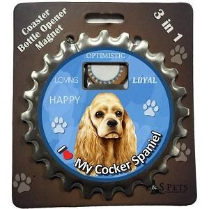 Cocker Spaniel 3 in 1 Coaster, Bottle  Opener & Magnet - Free with dog orders over AED250 - The Happy Dolphin Pets