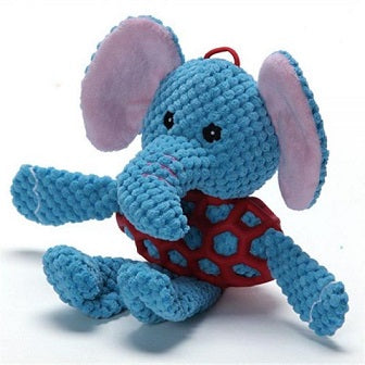 Elephant With Rubber Net And Squeaky - Small - The Happy Dolphin Pets