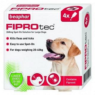 Fiprotec For Large Dogs kills fleas and ticks - 4 Vials - The Happy Dolphin Pets