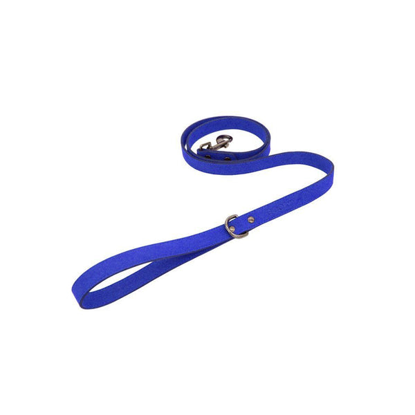 Blue Harness Leash - Made of Synthetic Lambskin - The Happy Dolphin Pets