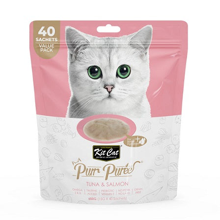 Kit Cat Purr Puree Tuna & Salmon (40 Sachets) Value Pack! - The Happy Dolphin Pets