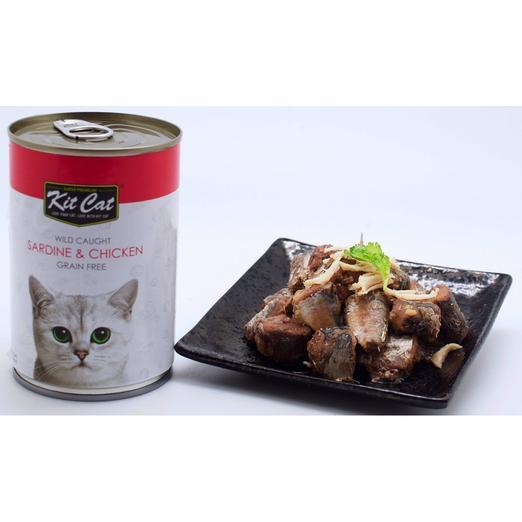 Kit Cat Wild Caught Sardine & Chicken Grain Free Canned Cat Food 400g - The Happy Dolphin Pets