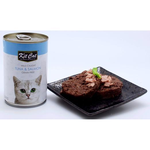Kit Cat Wild Caught Tuna & Salmon Grain Free Canned Cat Food 400g - The Happy Dolphin Pets