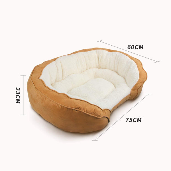 All For Paws Luxury Lounge Dog Bed Tan Medium - Size: 78x60x21cm