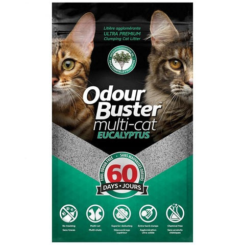 Odour Buster MultiCat Eucalyptus Clumping Litter 12kg - The Happy Dolphin Pets
