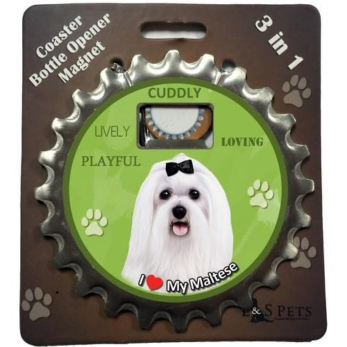 Maltese 3 in 1 Coaster, Bottle Opener & Magnet - Free with dog orders over AED250 - The Happy Dolphin Pets