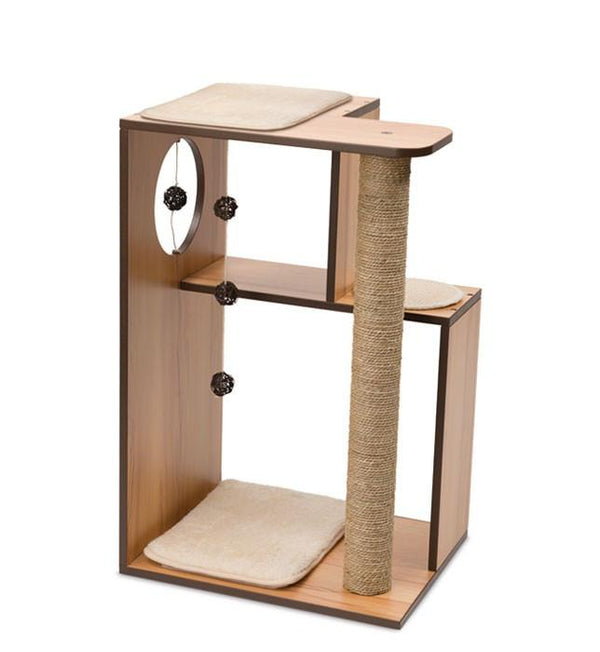 Vesper PREMIUM CAT FURNITURE V-BOX LARGE WALNUT -  Price Inclusive of 150Dhs Assembly Fee - The Happy Dolphin Pets
