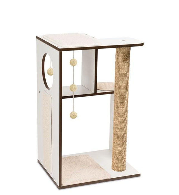 Vesper PREMIUM CAT FURNITURE V-BOX LARGE WHITE - Price Inclusive of 150Dhs Assembly Fee - The Happy Dolphin Pets