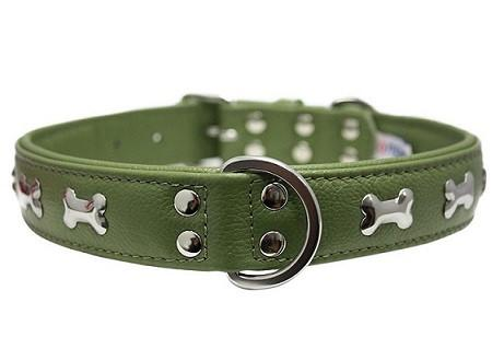 Olive Green Rotterdam Bones - made with Soft Genuine Cowhide Leather - The Happy Dolphin Pets