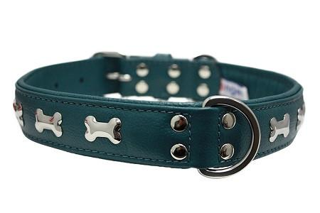 Ocean Blue Rotterdam Bones - made with Soft Genuine Cowhide Leather - The Happy Dolphin Pets