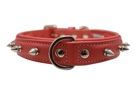 Genuine Leather Rotterdam BubbleGum Pink Single Line Spiked Collar - The Happy Dolphin Pets