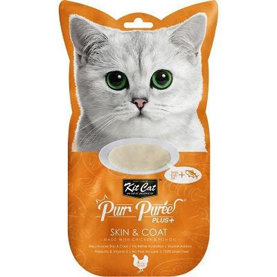 Kit Cat Purr Puree PLUS Skin & Coat Chicken Cat Treats - 4 sachets in bag - The Happy Dolphin Pets