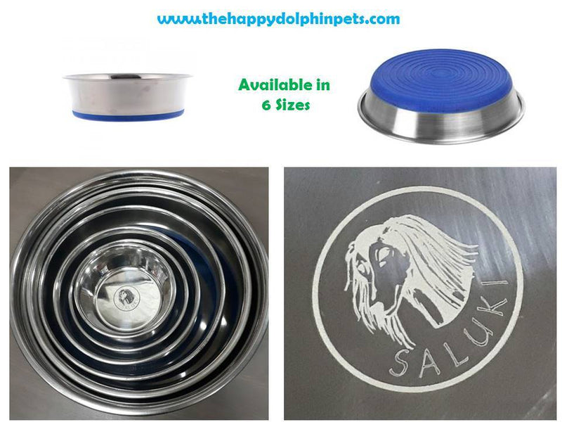Saluki Stainless Steel Bowl Non Slip Navy Blue - The Happy Dolphin Pets